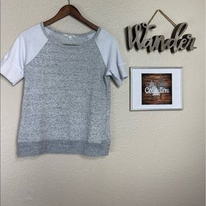 Athleta Grey and a white Short Sleeve Sweater